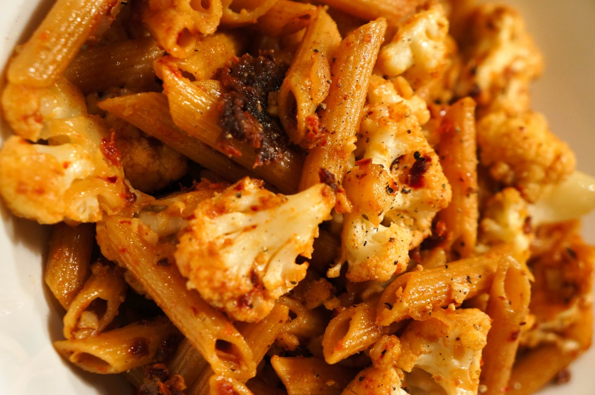 Sicilian Style Spicy Cauliflower and Sun-dried Tomato Pasta